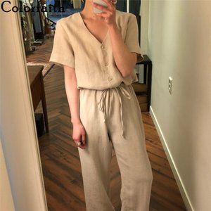 wholesale 2020 New Summer Women Jumpsuits & Rompers Casual Cotton and Linen Ankle-Length Pants Pockets Lace Up Playsuit JS1114