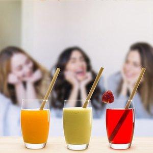 Bambu Straw 20 * 1cm 20 * 1.8cm Sarı Yeşil Yeniden kullanılabilir Bambu İçme Pipetler Çevre Dostu Parti Bar Mutfak Straws 300pcs OOA6891