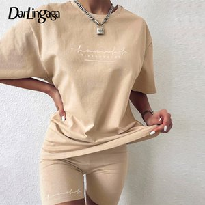 Darlingaga Casual Letter Print Workout Two Piece Set Tracksuit Women Summer Oversized Tshirt and Biker Shorts Matching Sets 2020 T200722