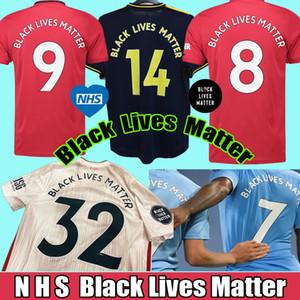 탑 태국 (20) (21) 블랙 삶 물질의 축구 유니폼 NHS BLM 2020 2021 맨체스터 축구 유니폼 셔츠 camiseta 드 푸 웃 타이츠 드 발