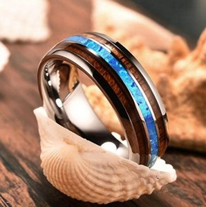 Titanium Ring for Men 8mm Groove Hawaiian Wood and Abalone Shell Tungsten Carbide Engagement Wedding Rings Size 6-13