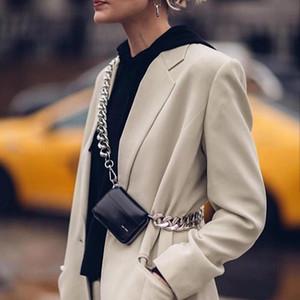 Cüzdan kanca 2020 yeni KARA bayan moda podyum kalın metal zincir çanta siyah omuz yastığı, mini göğüs torba bozuk para cüzdanı