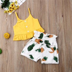 2020 Kid Baby Girl Cropped Ruffles Crop Tops Shirt Pineapple Print Short Pants 2pcs Outfit Clothes Children Summer Sets