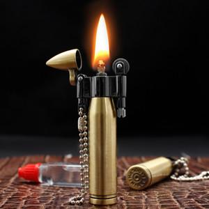 2020 New Creative Bullet Flint Lighter Compact Kerosene Lighter Keychain Pendant Grinding Wheel Windproof Lighter Gift for Man Decoration