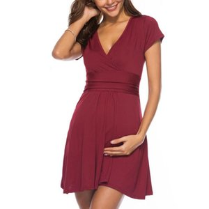 New Breastfeeding Dresses Maternity Clothes for Pregnant Women Clothing Solid V-neck Pregnancy Dresses Mother Wear Evening Dress