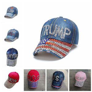Trump 2020 Baseball Cap USA Hat Election Campaign Cowboy Diamond Cap Adjustable Snapback Unisex Denim Diamond Hat LJJP93