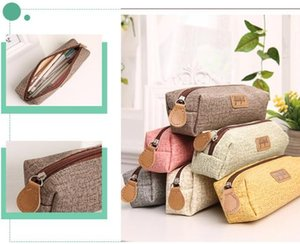 Creative simple pencil box students solid color pencil bag for boys and girls writing case pencil bag 029