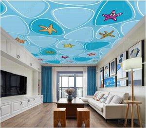3D ceiling murals wallpaper custom photo Fresh water cubic starfish ocean ceiling zenith mural home decor wallpaper for walls 3 d