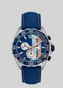 Nouveau F1 mouvement de montre chronographe suisse bracelet en cuir bleu 43mm montre des hommes