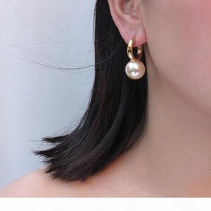 A Designer Jewelry Fashion Big Round Pearl Drop Earrings High Quality Gold Dangle Earrings For Women Luxury Elegant Brand Bijoux Sh1909