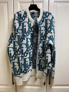 가을과 겨울 여성 니트 노안 로고 카디건 재킷 디자이너 울 버전 원래 성분의 피부 친화적 인 커플 재킷