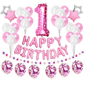 37pcs 1st 1 2 3 4 5 6 7 8 9 10 18 21st 30 40 50 Years Happy Birthday Number Balloons Set Party Decorations Adult Kids Boy Girl T200624