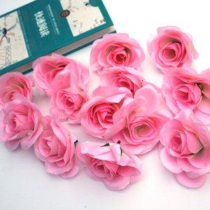 50 Pcs lot Simulation Rose flower Head manual DIY Wreath Accessories Wedding Decoration Silk Flower wall Background Fake Flowers