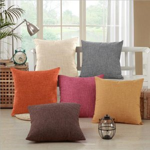 Plain Candy Color Blank Cushion Cover Cotton Linen Blank Pillow Case Home Decorative Cover Pillows Christmas Decor 12 Colors YW183