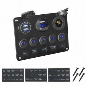 Impermeable voltímetro digital USB de doble combinación de puerto 12V del enchufe del coche marina del barco LED Interruptor oscilante Panel ifT3 #