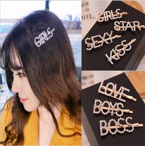 Clip INS diamante di Bling grande lettera di capelli di cristallo Designer forcine strass Ragazze CAZZO Pin di Bobby Bling Hairclip dei capelli Accesseries D73102