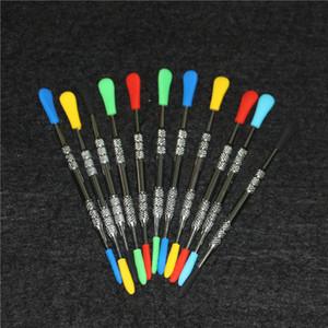 120 milímetros cera entalhar DAB ferramenta com pontas de silicone pacote de aço inoxidável cera dabber ferramentas de silicone extremidade da ponta ferramentas de metal fumar DAB