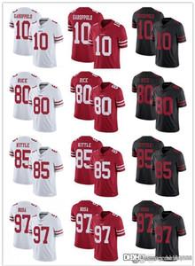 Homens Mulheres Juventude San Francisco49ersJersey 85 George Kittle 10 Jimmy Garoppolo 97 Nick Bosa 80 Jerry Rice Football Black Red Jerseys
