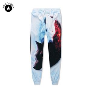 Unicomidea Hip Hop Jogger Pantaloni Uomo Donne 3d pantaloni pantaloni della tuta Ice Fuoco lupo Stampato Pantalone traccia causale Uomo Abbigliamento Dropship