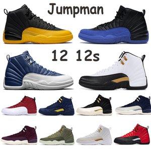 2020 Jumpman 12 12s Chaussures de basket-ball Hommes CNY inverse Taxi Jeu grippe OVO Noir Bordeaux Blanc Fiba 2019 Université Indigo or Baskets homme