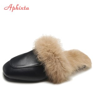 Aphixta Big Size 44 Real Fur Slippers Shoes Woman 2019 Mules Women's Tassel Slides Winter Warm Women Shoes Fashion Bee Slippers Y200706