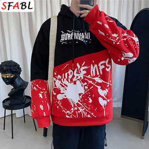 SFABL Mode Patchwork-Sweatshirt Männer Pullover Tops T-Shirt Hip Hop Street Männer Hoodies Japan Style Top
