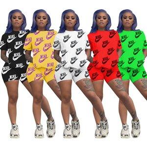 Women Designer Brand Clothing Summer 2 Piece Set Short Sleeve T-Shirt+Shorts Letter Sports Suit Crew Neck Outfits Fashion Jogging Suit 3490