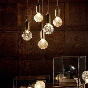 Modern LED Pendant Light Hanging Line Bulb Round Crystal Glass Art Living Room Dining Room Ceiling Lamp PA0188