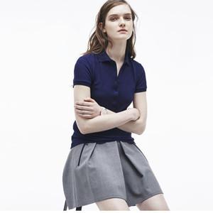 패션 디자이너 여성 악어 자수 폴로 셔츠 여성 여름 소프트 통기성면 폴로 셔츠 2020 새로운 도착 8 색상 크기 S-XL