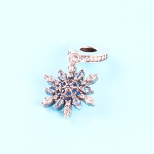 925 Sterling Silver Crystal snow Pendant Charms Original box for Pandora European Bead Charms Bracelet Necklace jewelry making accessories19