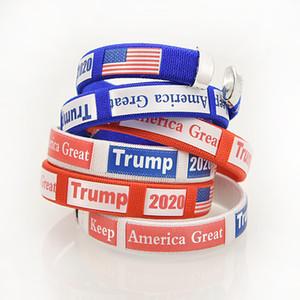 Trump Wickelarmbänder Keep America große USA-Flagge Wahlen Geschlossenes Armband Gürtelschlaufe Kunststoff-Runde Armband Blau Rot 1 2GG C2