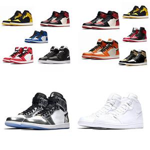 NOUVEAU 1 OG Basketball Chaussures Hommes Banned Mid Bred Multi Color Gym Rouge Chicago Noir Toe Athlétisme espadrille Top 1s Baskets Femmes Chaussures de course