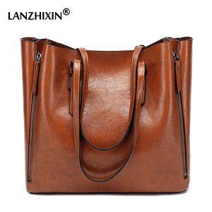A tracolla in pelle LANZHIXIN donne dell'unità di elaborazione della borsa casuale di grande capienza Top-manico di secchio Borsa di stile semplice Tote solido