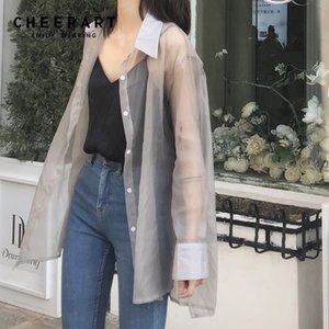 Cheerart Transparent Blouse Women Sheer Top See Through Shirt Long Sleeve Ladies Tulle Top 2019 Spring Summer Clothing Y200622