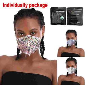 Auf Art und Weise Bling Strass Designer-Gesichtsmaske Mundschutz Schutz Maske PM2.5 Staubdichtes Waschbar Reuse Masken Elastic Earloop FY0028