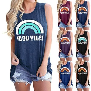 Summer new hot sale explosive ladies vest GOOD VIBES letter printed round neck sleeveless fashion T-shirt