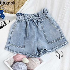 Gagaok Women Streetwear Short 2020 Summer New Solid Pockets High Drawstring Casual Harajuku Simple Wild Female Fashion Shorts SV6g#