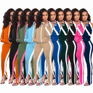 women Off shoulder 2 two piece tracksuits suit zipper striped jackets Split trousers sports leggings outfits sets workout running clothing