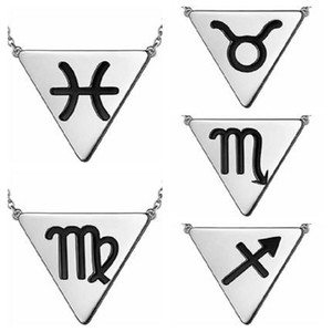 Horoscope Zodiac Triangle Necklaces 12 Constellation Astrology Charm Silver Pendant Necklace for Women Men Jewelry Gift