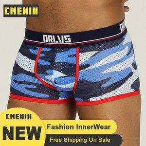 CMENIN Mesh camouflage Cuecas sexy Sous-vêtements Hommes Boxer Shorts Hommes Coton Homme Caleçon OR191 Cotton Mesh Culotte