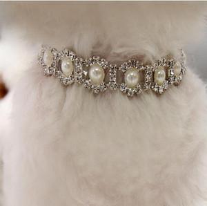 Bling Воротник Rhinestone Жемчужное ожерелье собаки сплава Алмазные щенок Pet ошейники поводки для маленьких собак Аксессуары для собак Mascotas Free Ship