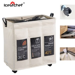 ICESTCHEF 600D Oxford Waterproof Laundry Basket With Wheels Collapsible Hamper Laundry Basket Dirty Clothes Washing Bag T200624