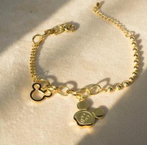 Мода ювелирные изделия стали мышь из нержавеющей Проектировщик Браслеты Корея Золото Розовое золото Ссылка прекрасный сладкий титана стали браслет подарков