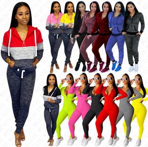Femmes Survêtement manches longues Tenues Pull Hoodies manteau à capuchon Zipper Veste Pantalon Legging Sweat Suit Bodysuit Automne de la D8409