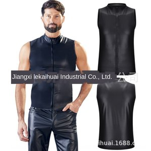 New sexy underwear high-end Matt leather sleeveless Underwear Clothing shirt shirt nightclub stage ds costumes N977