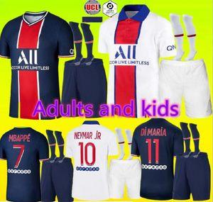 20 neue 21 Erwachsene und Kinder-Kit Fußballjerseys 20 21 Mbappe Verratti CAVANI DI MARIA MAILLOT DE FOOT Kind Paris Kinder-Fußballhemd-Kit