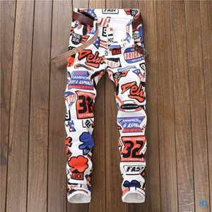 Wholesale New Fashion Summer Winter High Quality Rose Embroidery Straight Slim Printed Jeans Motorcycle Denim Pants Hip Hop Punk Pants Class