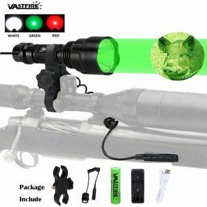 VastFire 5000 lúmenes caza impermeable de 3 colores de luz puede luz LED chooce blanco / verde / rojo Linterna portátil Huo9 #