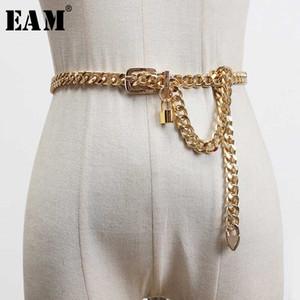 [EAM] Métal Taille Chian long verrouillage élégant de Split Personality Joint Ceinture Femmes Mode New Tide Tout match Printemps 2020 1U253