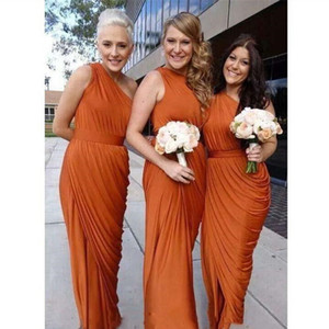 Burnt Orange Long Bridesmaid Dresses One Shoulder Ruffled Draped Maid of Honor Gowns Formal Wedding Guest Dress Split Floor Length